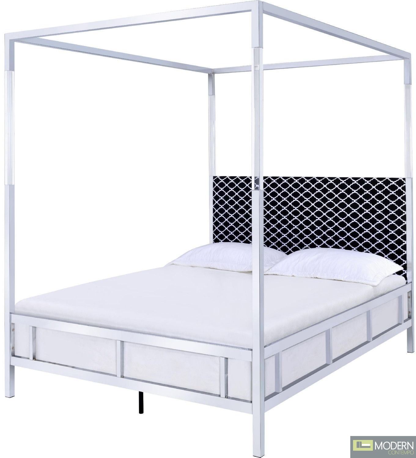 Contemporary Bedroom Set London Black By Acme Furniture: Regalia White Chrome Queen Upholstered Canopy Metal