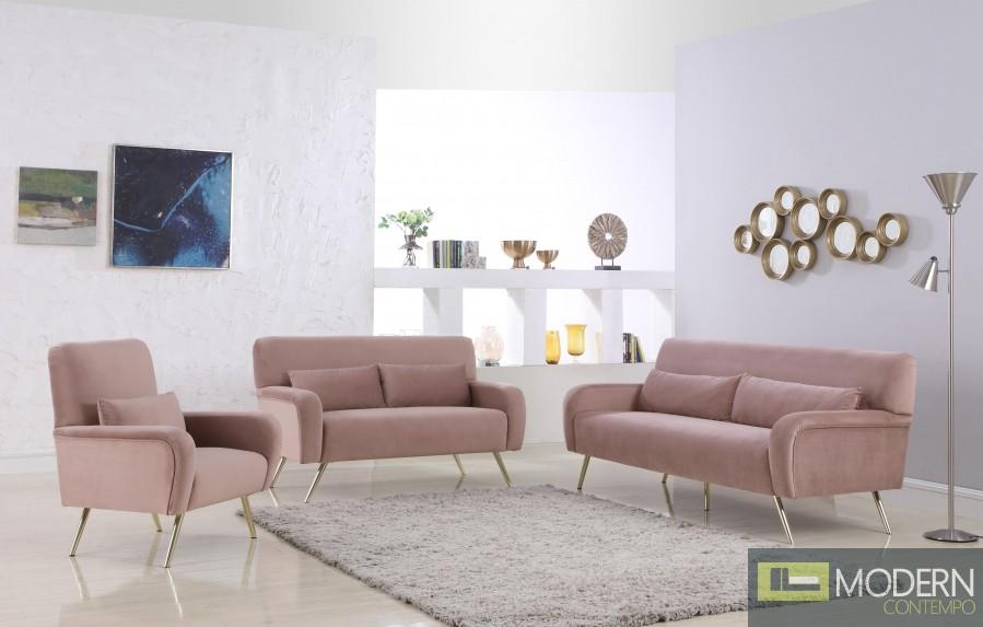 Clarissa Sofa 607 in Pink Velvet