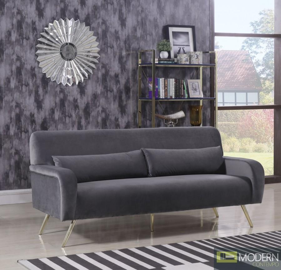 Clarissa Sofa 607 In Grey Velvet Fabric By Meridian