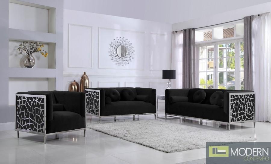 3Pc Aurora Velvet living room set