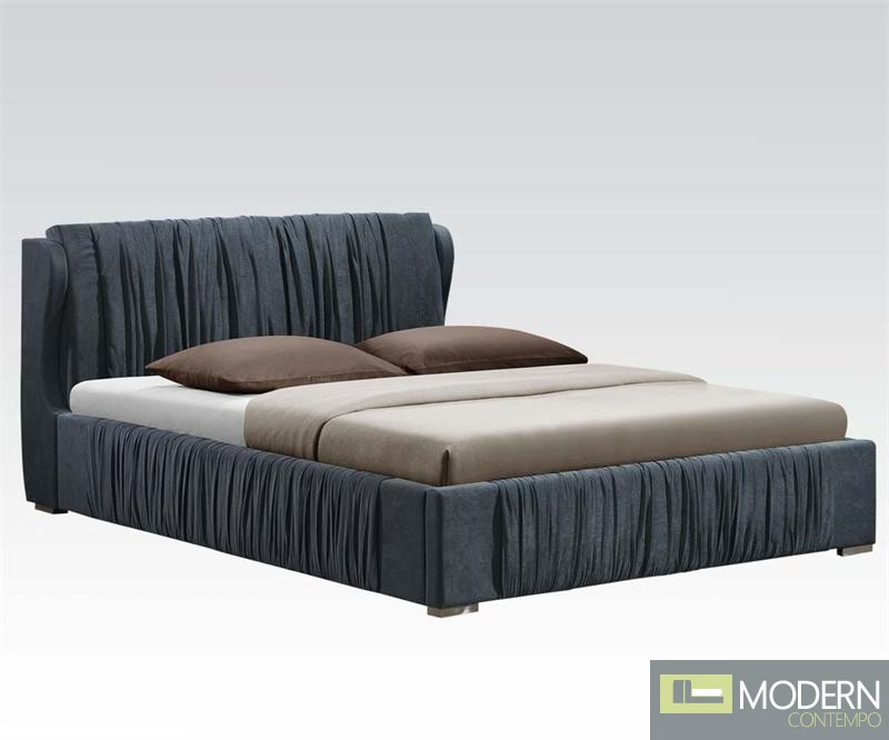Modern Upholstered Bed  Hazlett Upholstered Bed in Gray Fabric