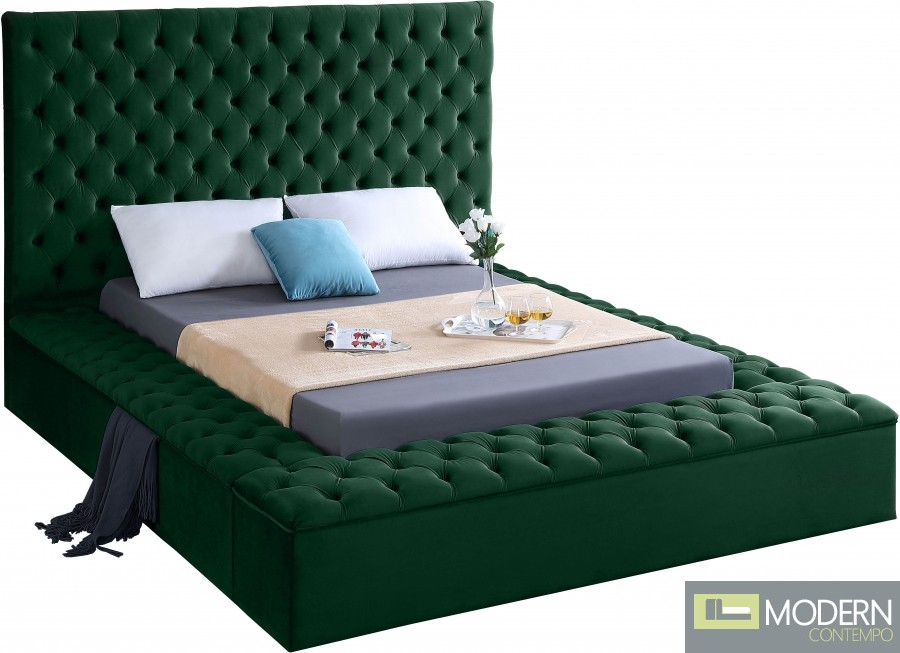 Hermes Velvet Bed with storage in footrest & side rails GREEN