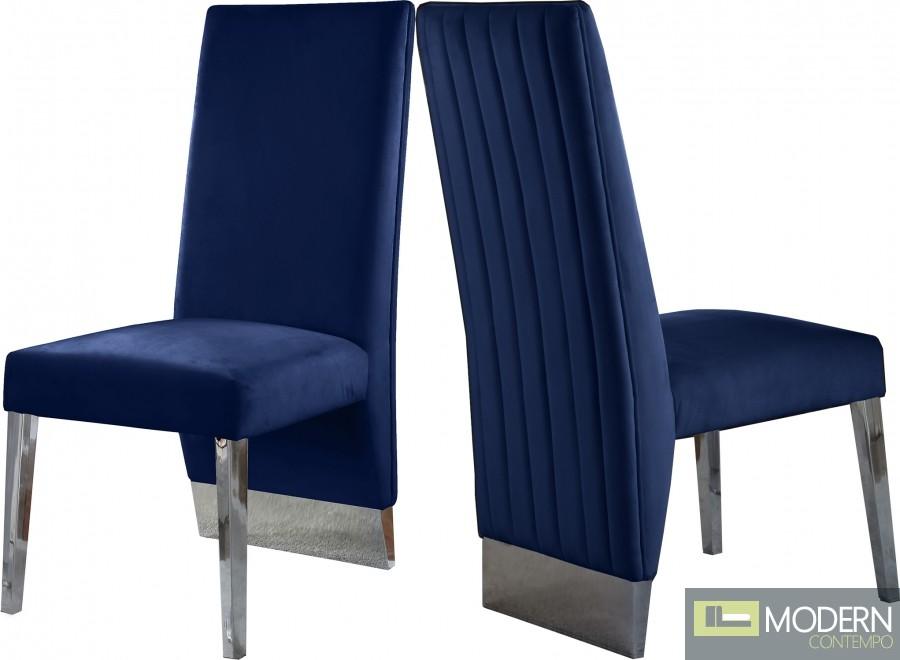 Armani Velvet Dining Chair in Chrome - Set of 2