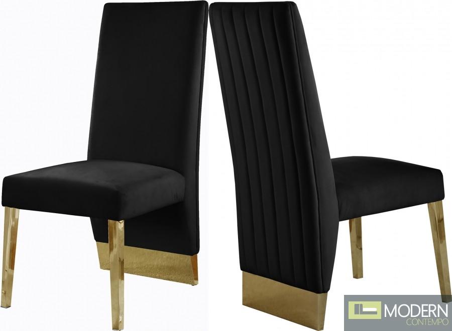 Armani Velvet Dining Chair in Gold - Set of 2