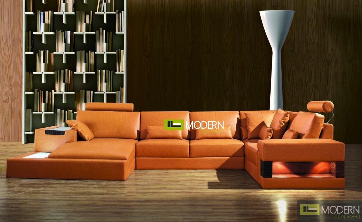 Modern Leather Sectional Sofa  MCNV309