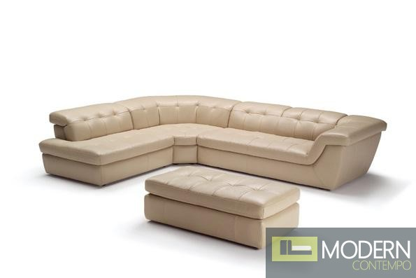 397 Italian Leather Sectional Beige Color In Left Hand Facing