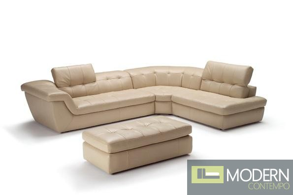 397 Italian Leather Sectional Beige Color Right Hand Facing