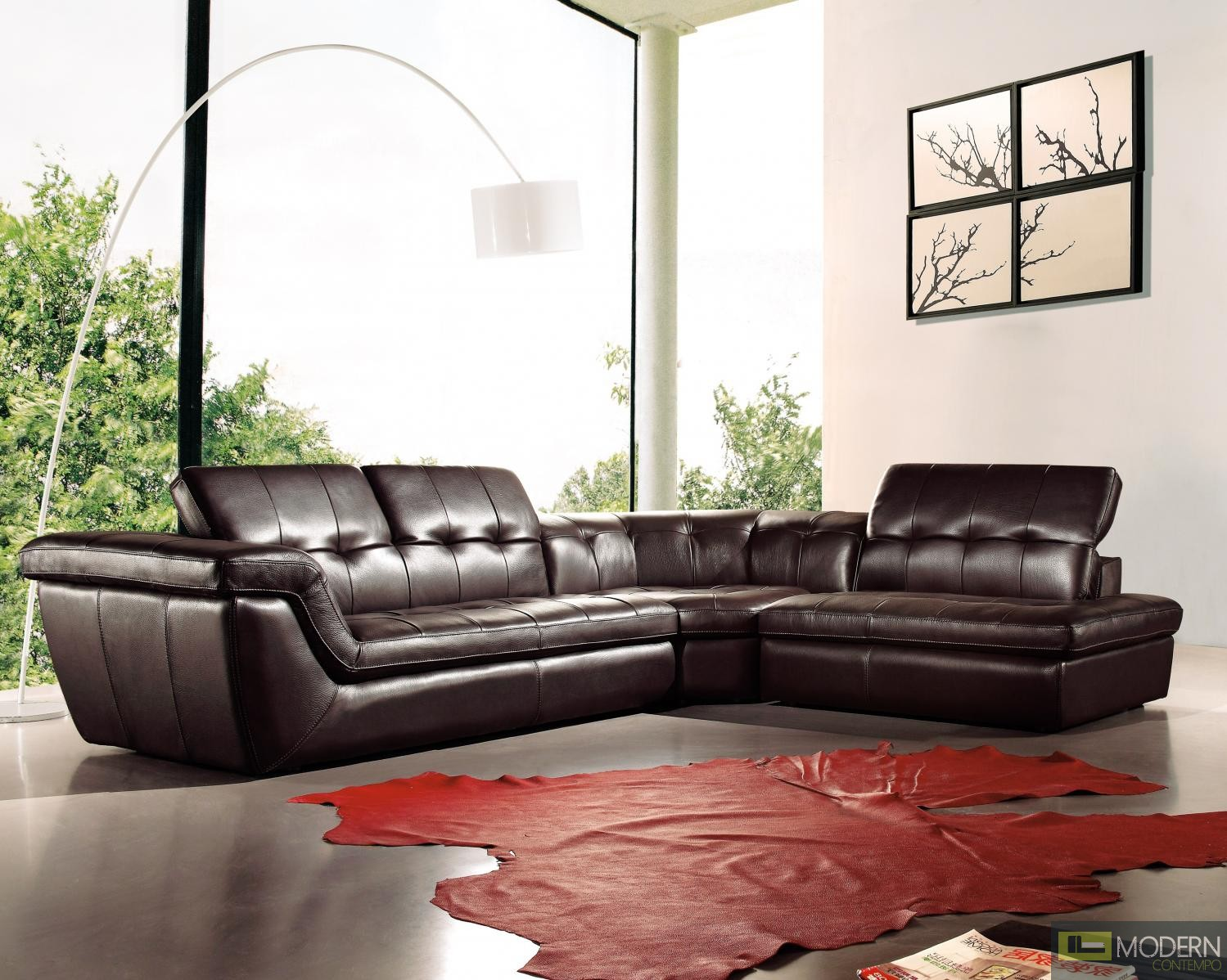 397 Italian Leather Sectional Chocolate Color in Right Hand Facing