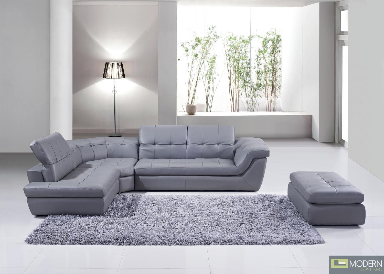 397 Italian Leather Sectional Grey Color in Left Hand Facing Chaise