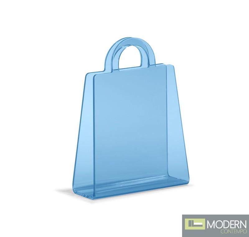 Purse Magazine Rack Transparent Blue