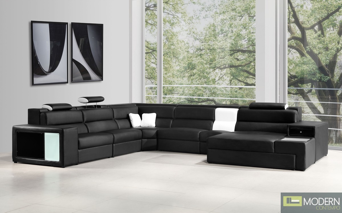 Romano - Contemporary Black Leather Sectional Sofa