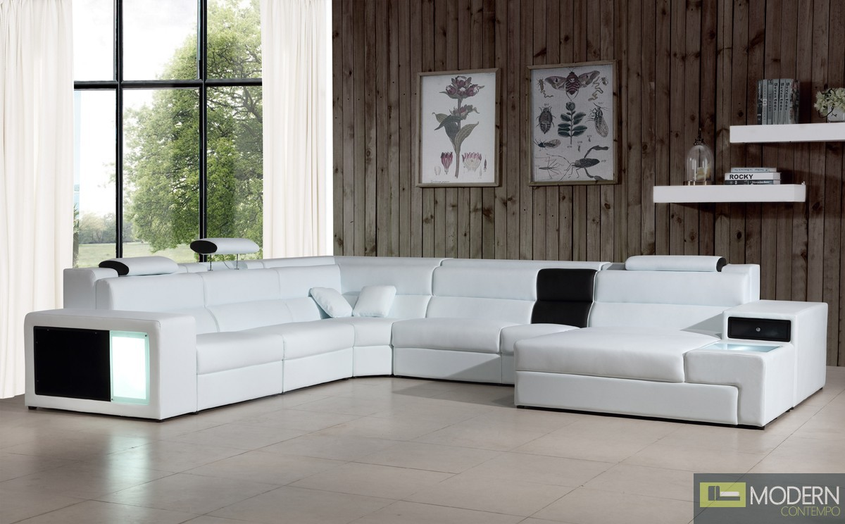 Modern Contempo Romano Contemporary White Leather Sectional Sofa With Lights