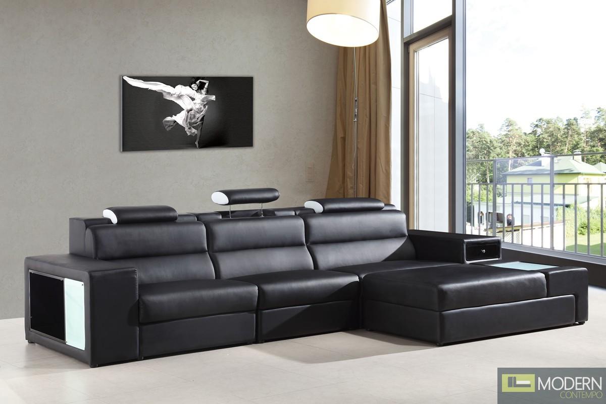 Romano Mini - Contemporary Bonded Leather Sectional Sofa