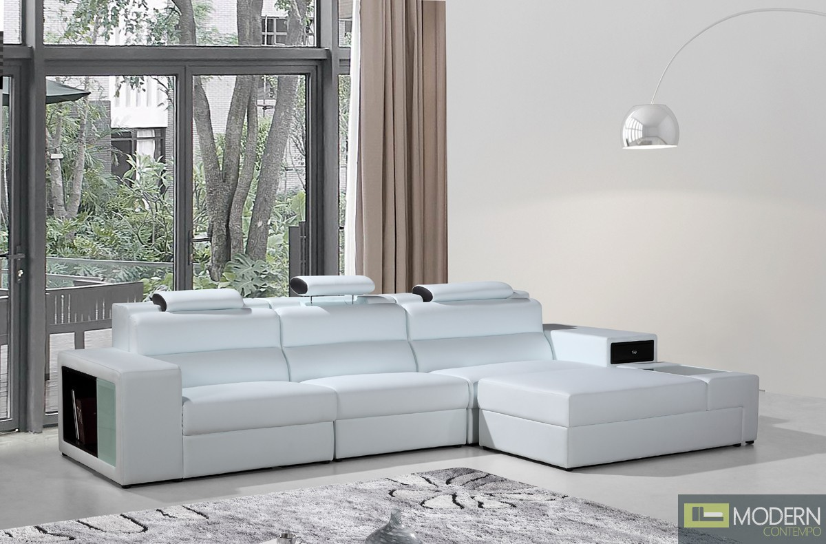 Romano Mini - Contemporary White Bonded Leather Sectional Sofa