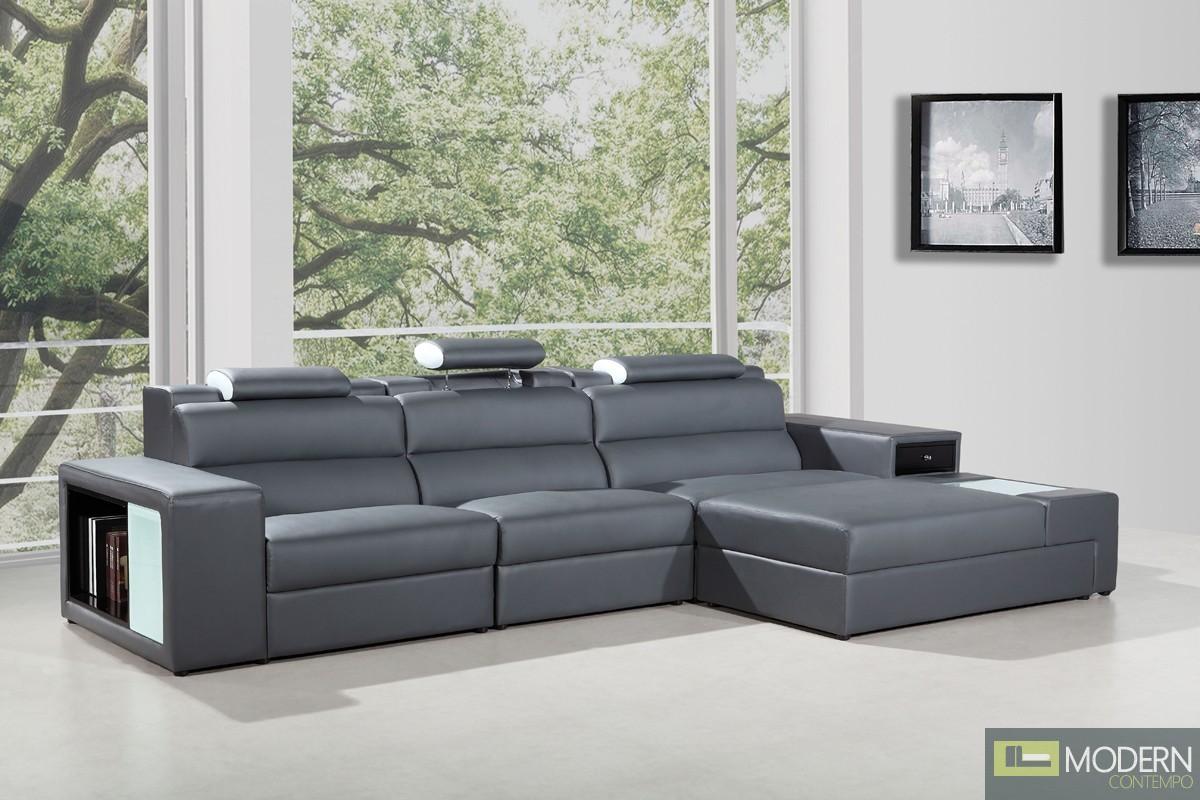 Romano Mini - Contemporary Leather Sectional Sofa GREY