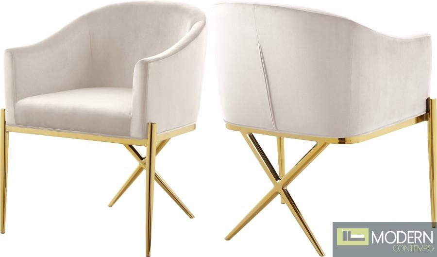 Zena X Cream Velvet dining chair GOLD