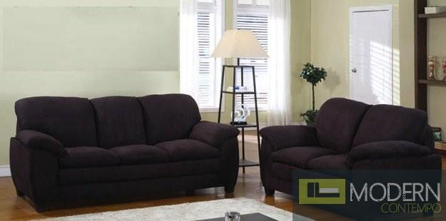 2Pc Modern Chocolate Sofa, Loveseat set in MicroFiber ZMFS4001