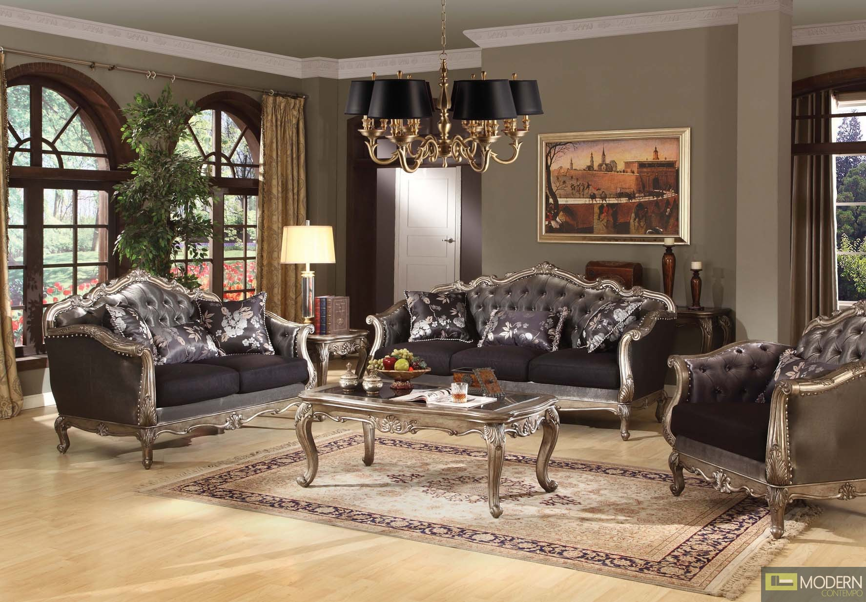 Modern contempo french rococo luxury sofa traditional for Traditional living room sets