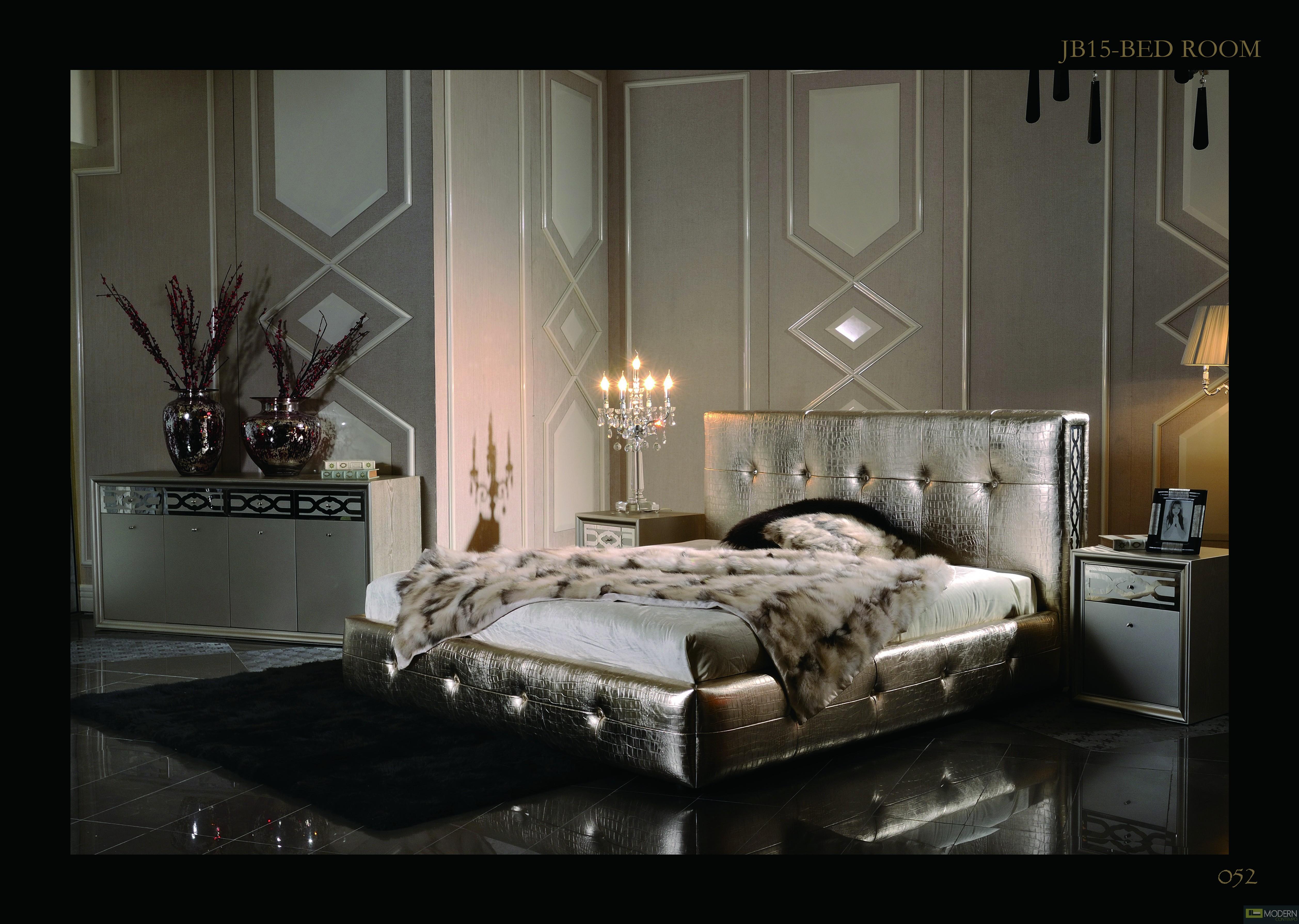 Modern Champagne Crocodile Leather- MCJB15-Bed