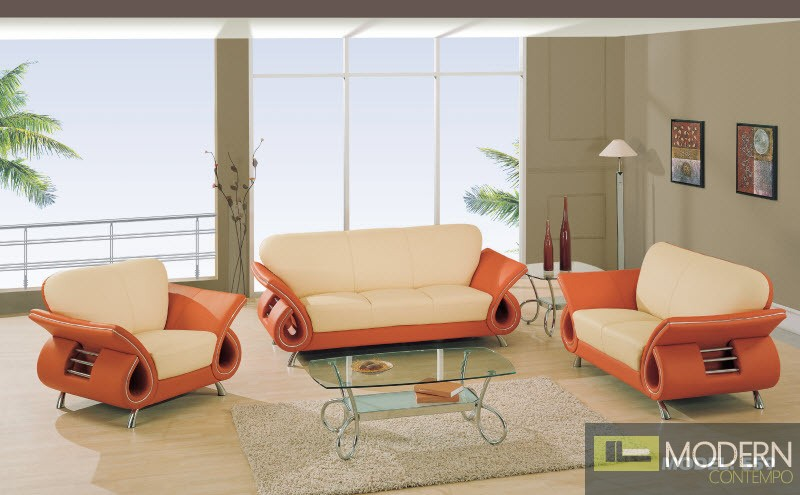 orange and beige living room modern leather sofa seat amp chair living room set 21441