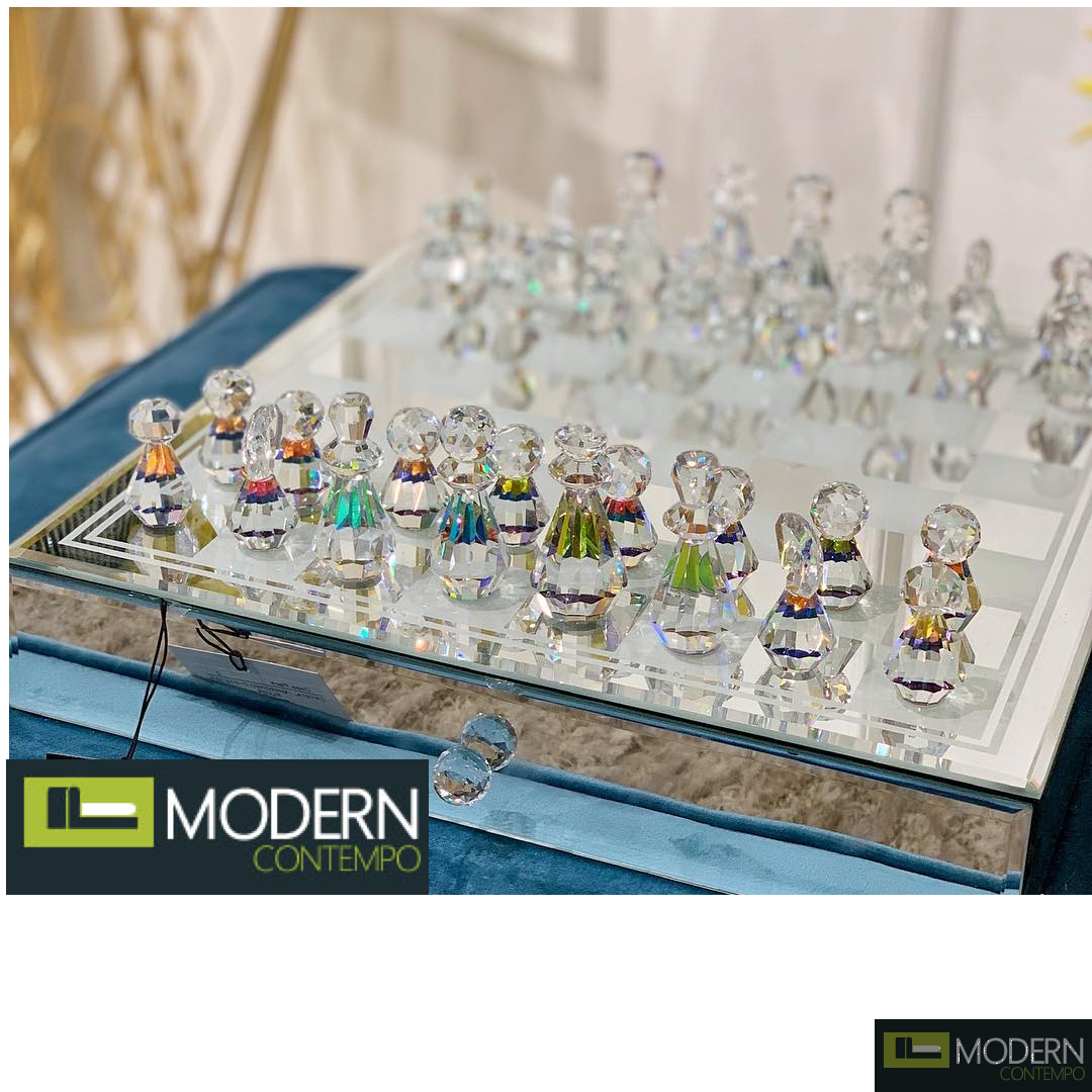 Cristallo CRYSTAL / MIRRORED CHESS SET,SILVER