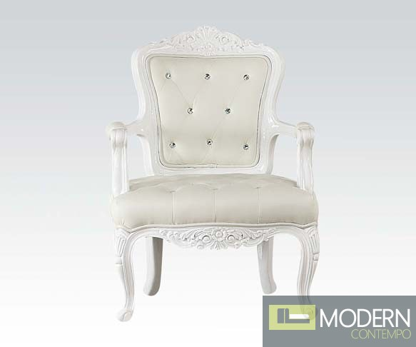 ATHENIA Victorian Style French Accent Arm Chair White