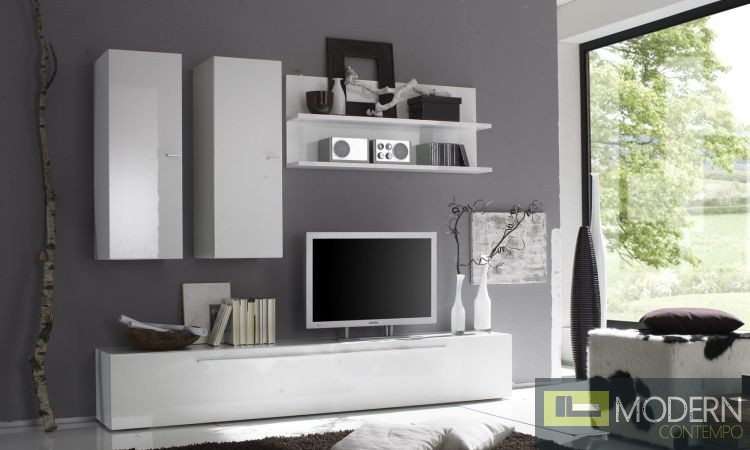 Modern Italian  White or Black TV Wall Entertainment Unit MCPRM F