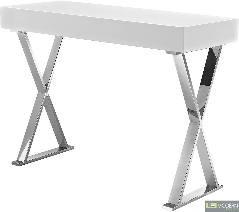 Modern Loyalty Office Desk/ Console in White Silver