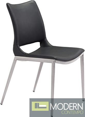 Arcadia Dining Chair Black & Brushed Ss