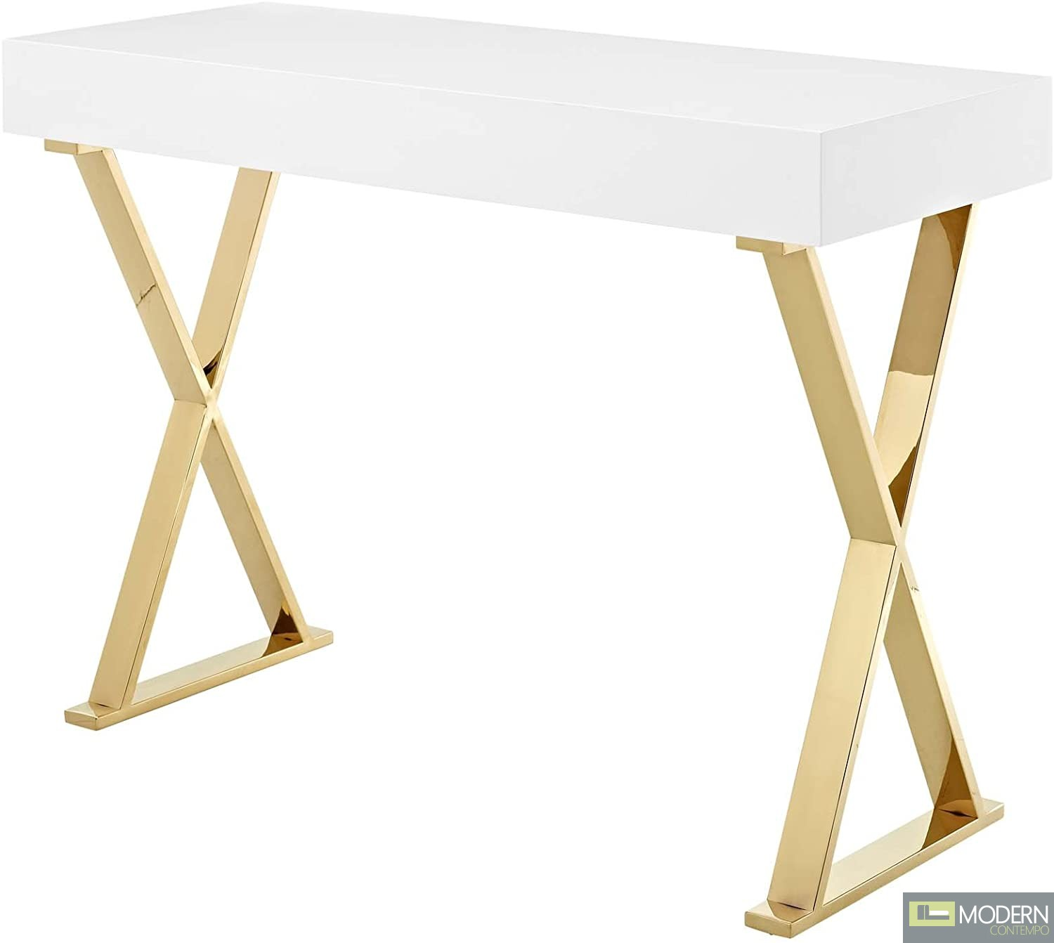 Modern Loyalty Office Desk/ Console in White Gold