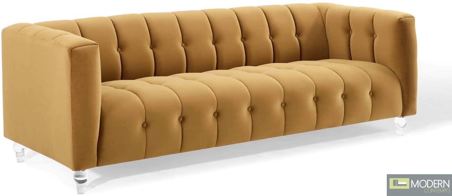Monet Channel Tufted Button Performance Velvet Sofa Cognac