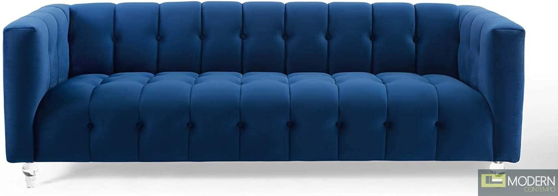 Monet Channel Tufted Button Performance Velvet Sofa Navy