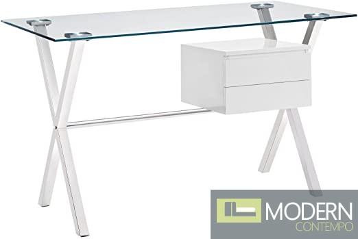 Blanche Glass Top Office Desk in White