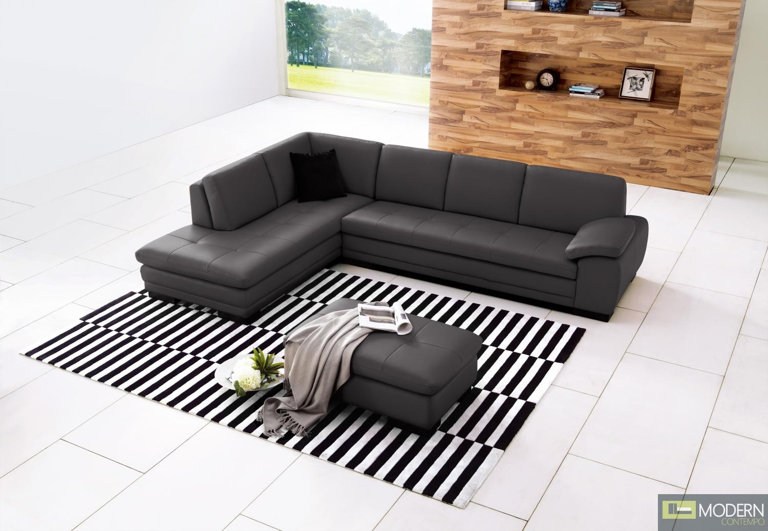 625 Italian Leather Sectional Grey in Left Hand Facing