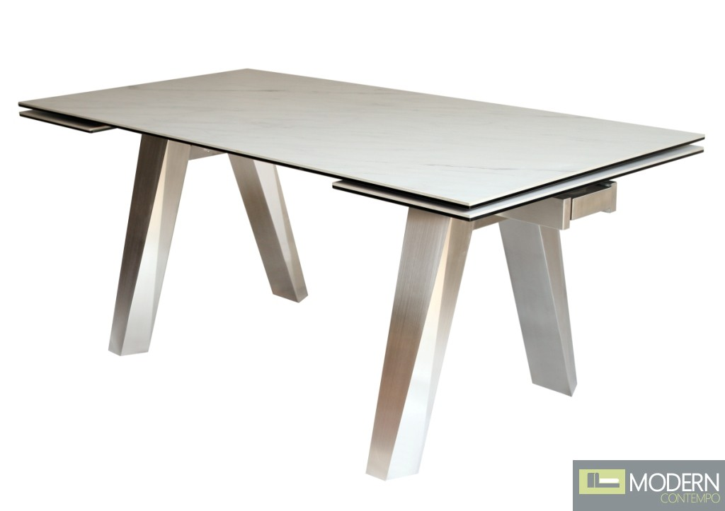 MADISON EXTENDABLE DINING TABLE WITH BRUSHED STAINLESS STEEL CERAMIC TOP