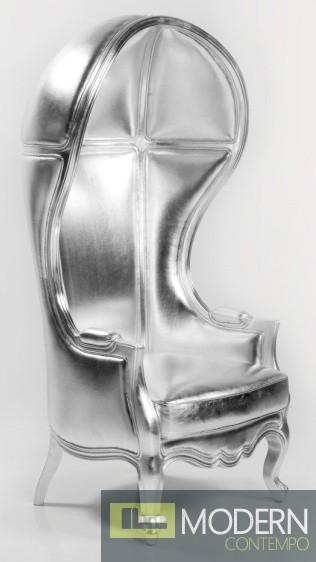 Silver/Vinyl ANTOINETTE Victorian Balloon Canopy Accent Arm Chair