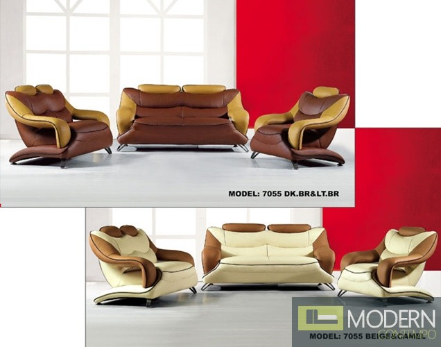 7055 Modern dark brown and light brown leather Sofa set