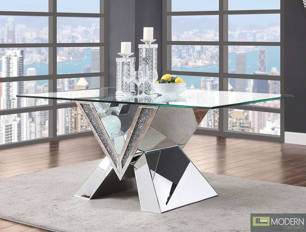 Venice Dining Table, Mirrored, Faux Diamonds and Clear Glass