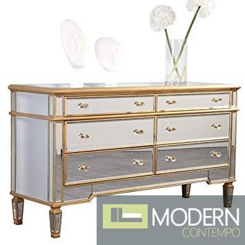 Asta 6 Drawers Dresser60 in. x 20 in. x 34 in. in Gold Leaf
