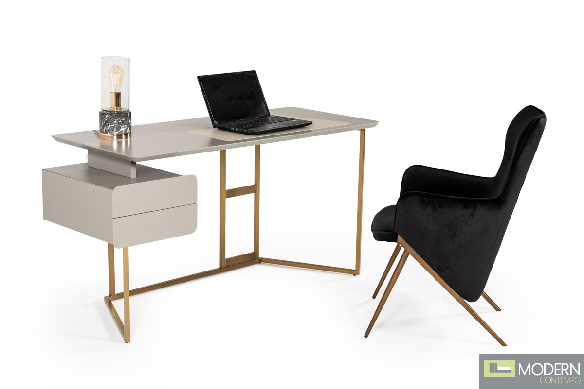 Golden City Modern Grey & Bronze Desk