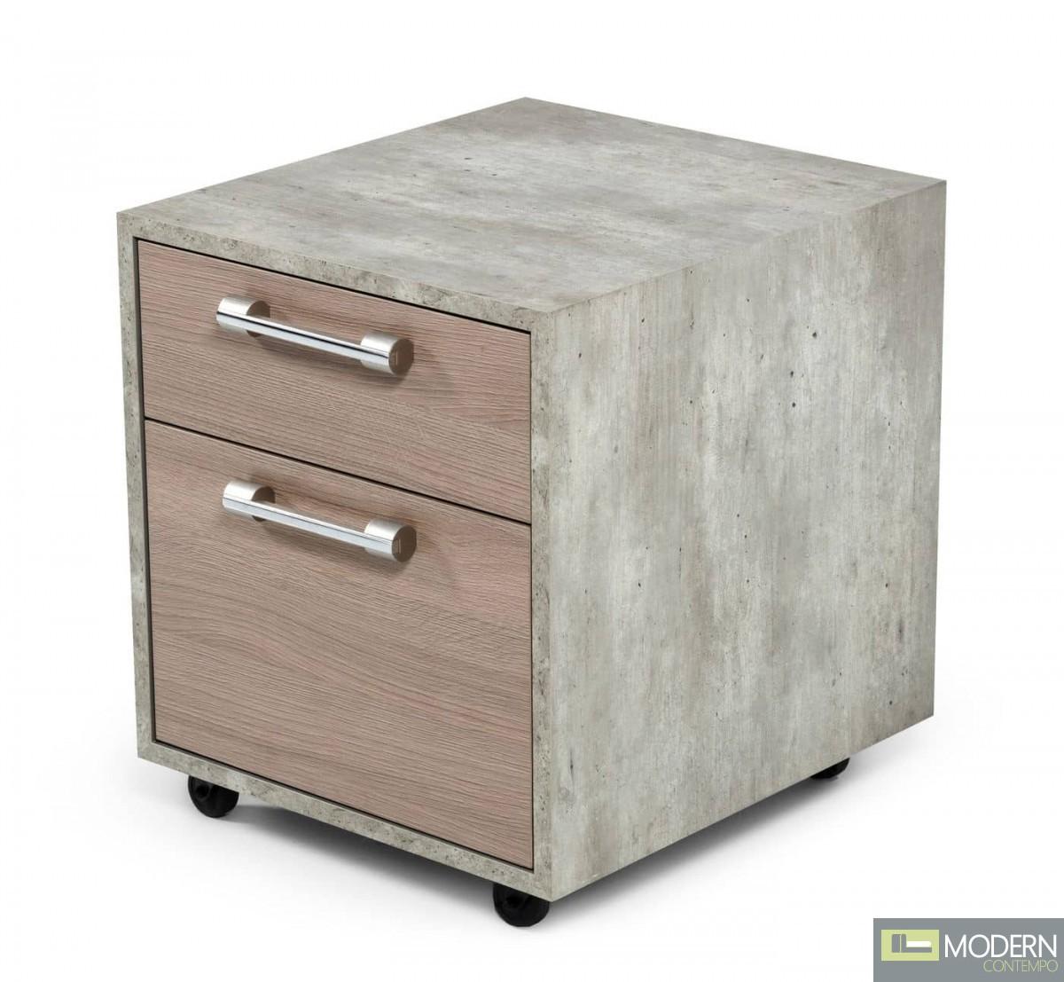 Harvard Brown Oak & Faux Concrete Office Small File Cabinet