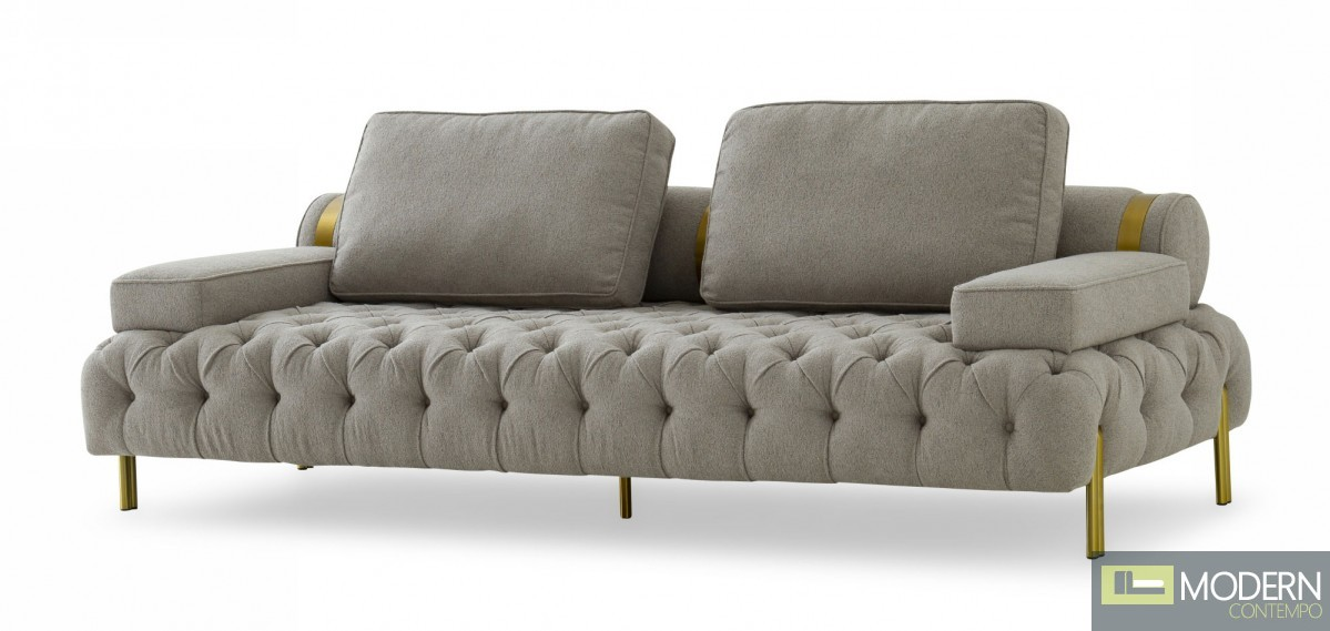 Bentley Glam Grey and Gold Fabric Sofa