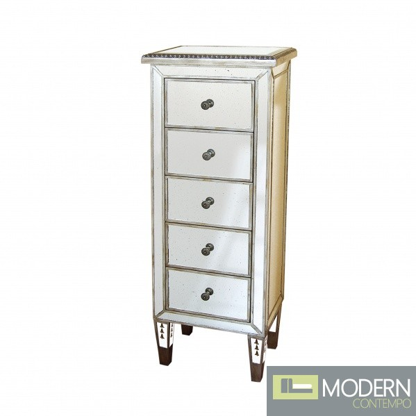 Metz Antique 5 Drawer Gilded Trim Mirrored Bedside Cabinet
