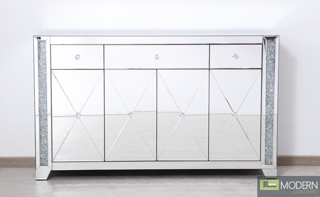 """Octavia 60"""" clear crystal mirrored credenza"""