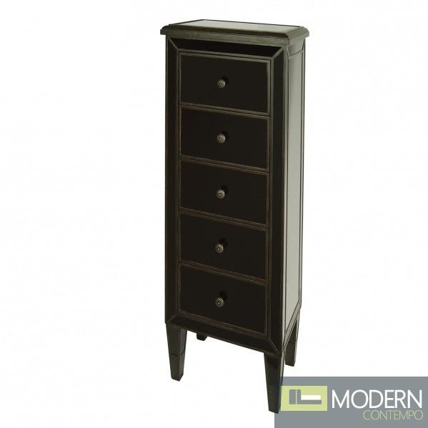 Metz Antique 5 Drawer Black Bedside Cabinet