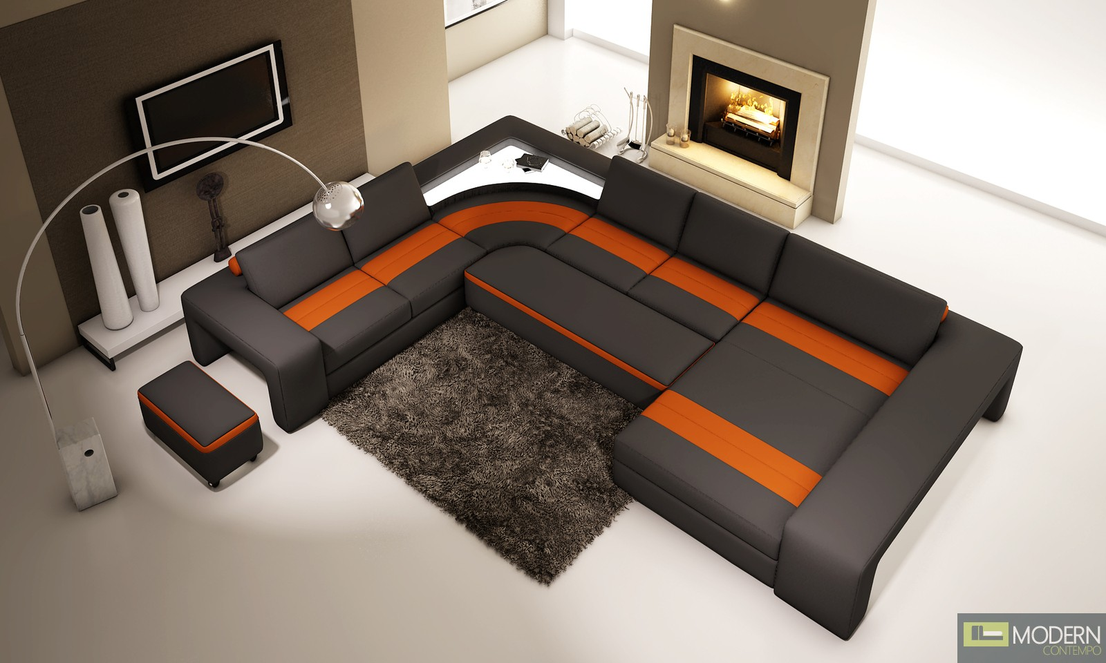 Modern Leather Sectional Sofa  with light -MCNB508