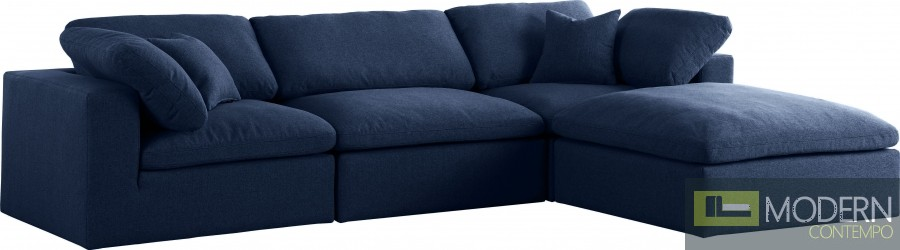 Marie-Jacques Cloud Modular Down Filled Overstuffed Reversible Sectional - 4PC NAVY