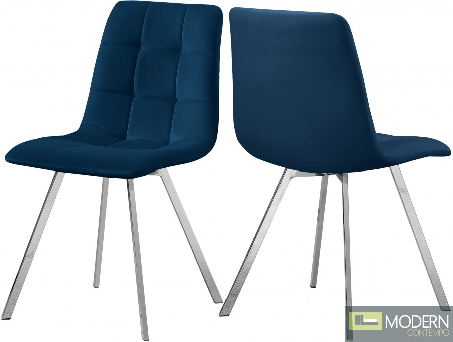 Lyon Velvet Dining Chair - Set of 2 NAVY CHROME