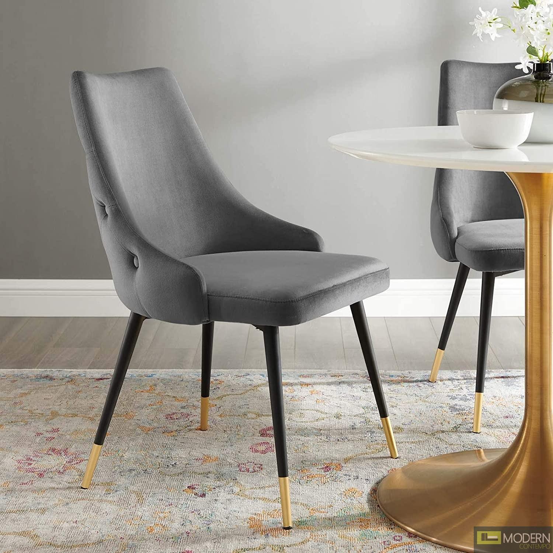 Marietta Tufted Velvet Dining Chair Grey