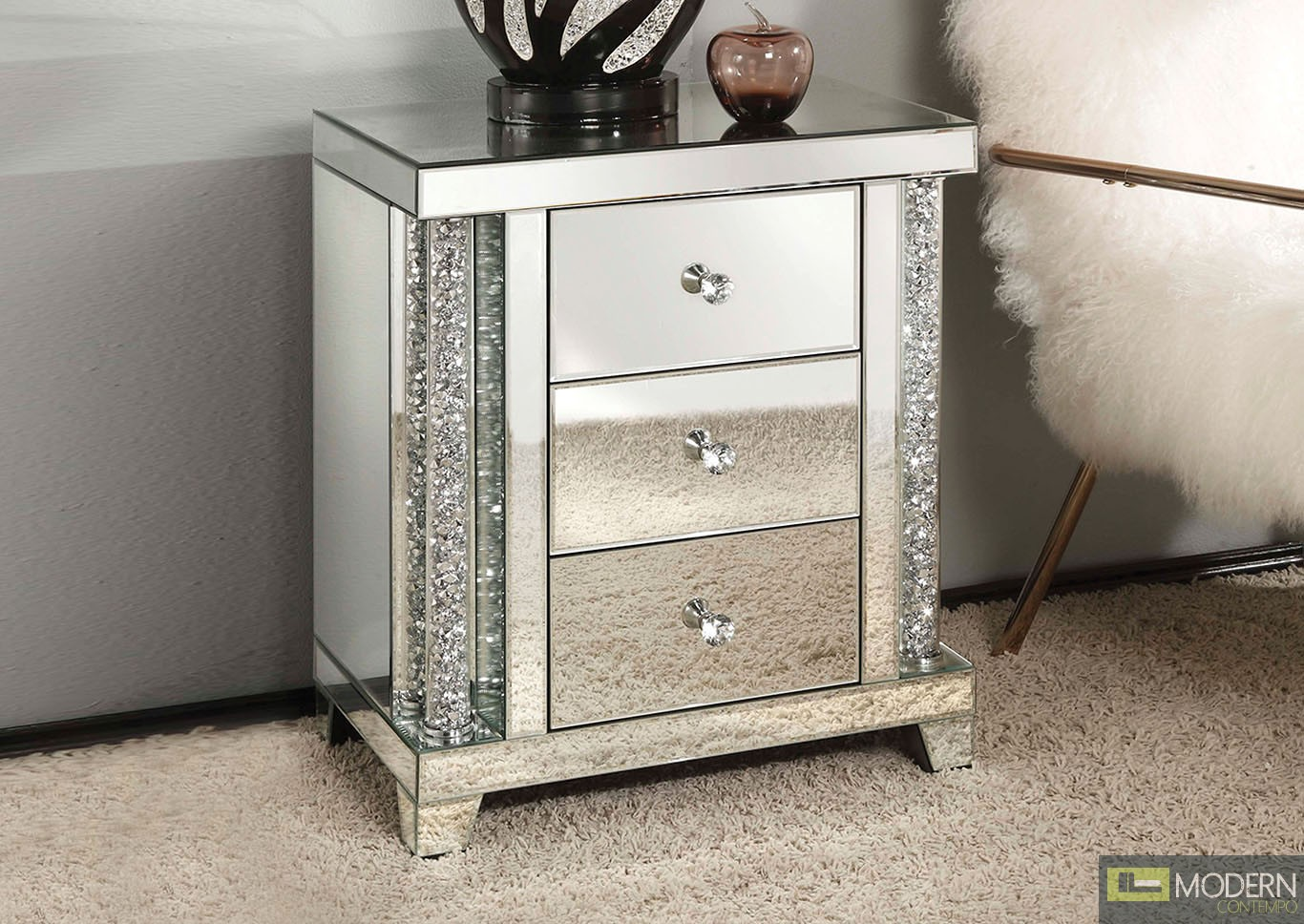 Venice End Table, Mirrored
